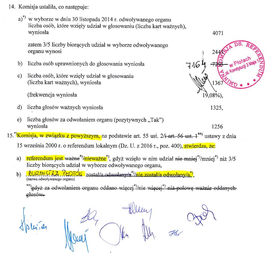 Fragment oświadczenia Komisji Wyborczej na temat referendum w sprawie odwołania Burmistrza Płotów