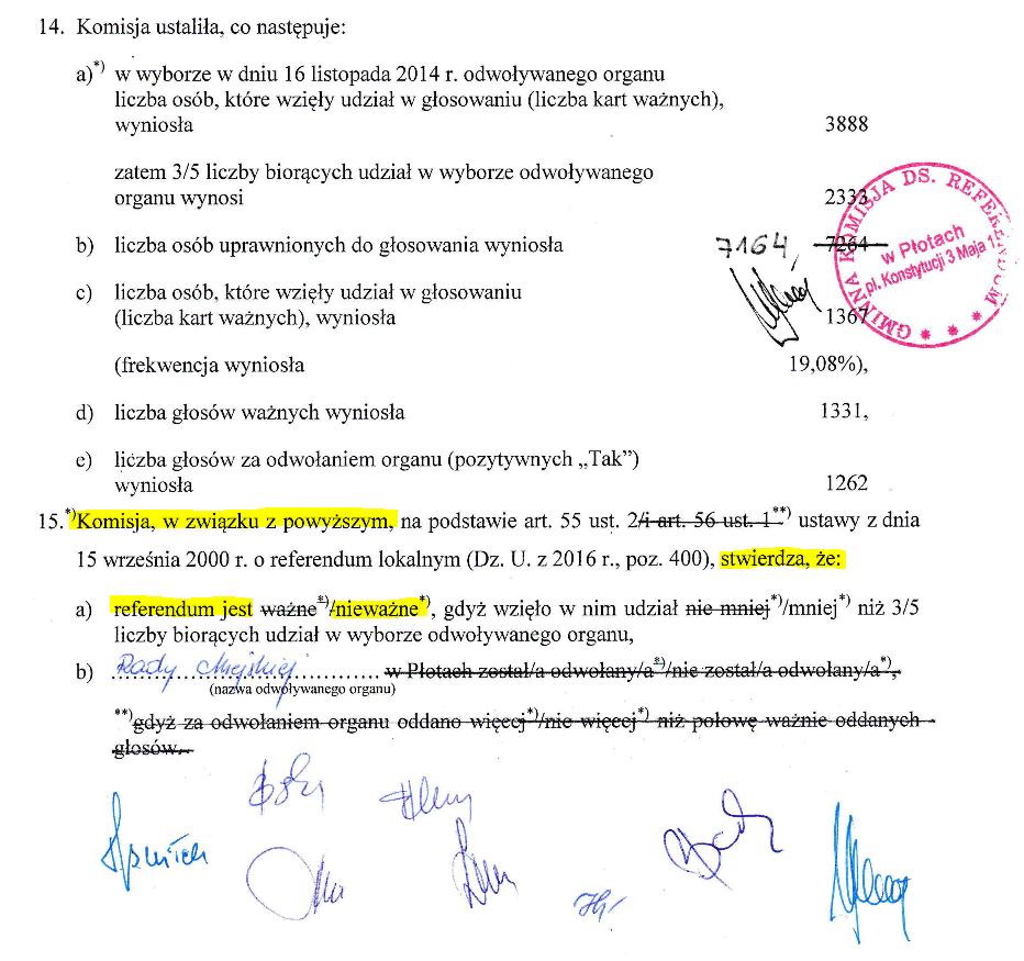 Fragment oświadczenia Komisji Wyborczej na temat referendum w sprawie odwołania Rady Miejskiej miasta Płoty