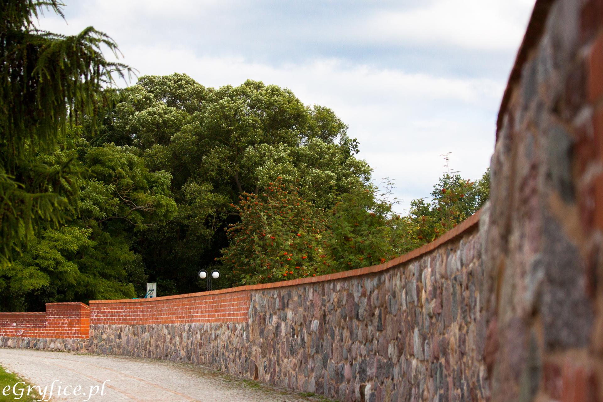 Fragment odnowionych murów obronnych w Gryficach