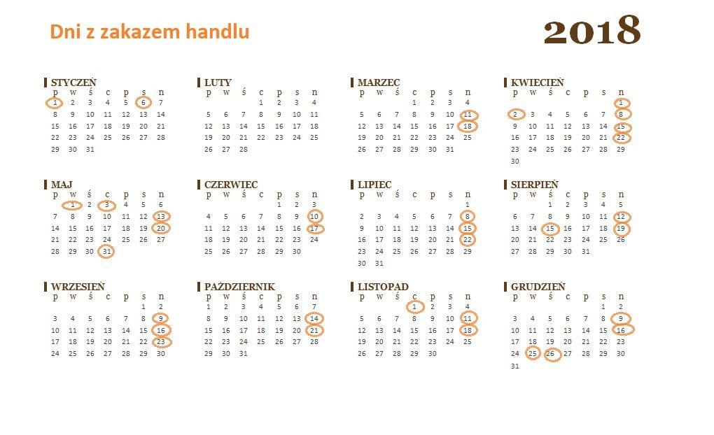 Kalendarz na 2018 rok z zaznaczonymi dniami z zakazem handlu