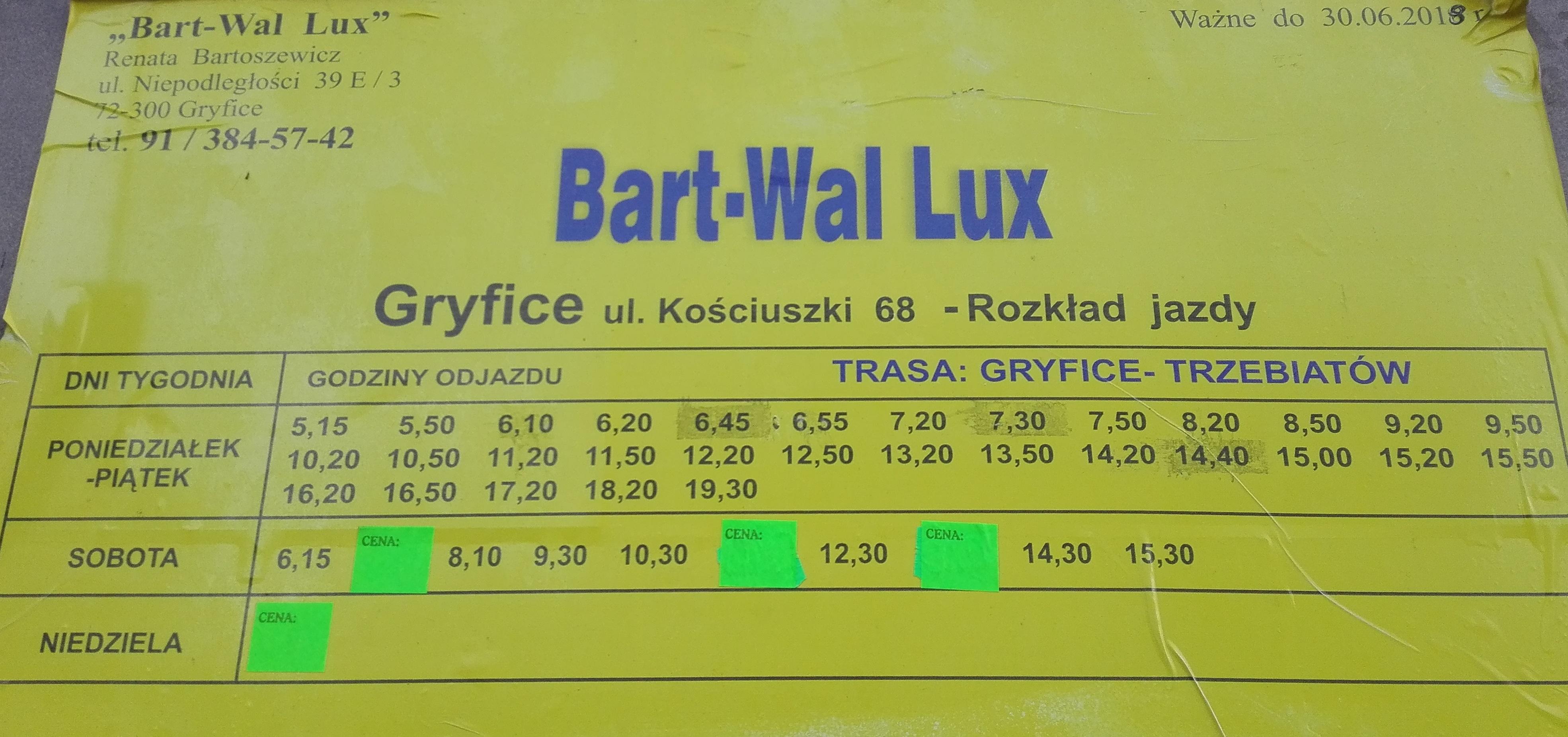 rozkład jazdy busy Gryfice Trzebiatów, trasa Gryfice Trzebiatów, busy Bart-Wal