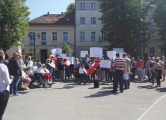 protest niepełnosprawnych w Gryficach