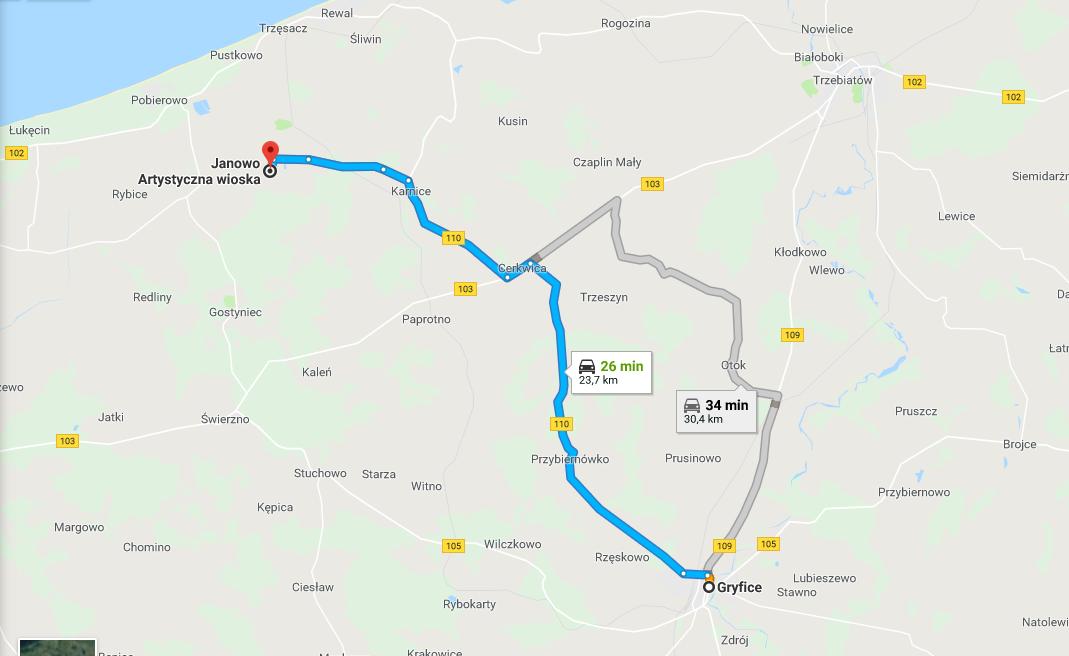 Mapa pokazująca jak dostać się z Gryfic do wioski artystycznej Janowo.
