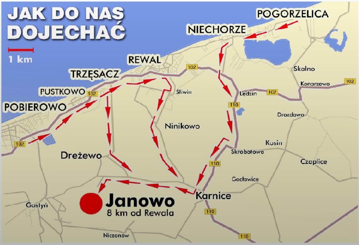 mapa dojazdu do wioski artystycznej Janowo w powiecie gryfickim