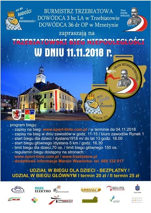 11 listopada w Trzebiatowie odbędzie się pierwszy Bieg Niepodległości.