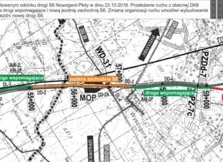 na budowanym odcinku S6 Nowogard-Płoty ruch pojazdów został przerzucony z dotychczasowego przebiegu DK6 na drogi wspomagające i jezdnię zachodnią nowej S6.