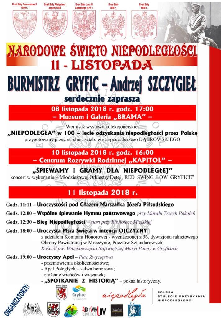 Burmistrz Gryfic Andrzej Szczygieł serdecznie zaprasza na obchody Narodowego Święta Niepodległości 11 listopada.