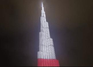 burj khalifa na biało czerwono