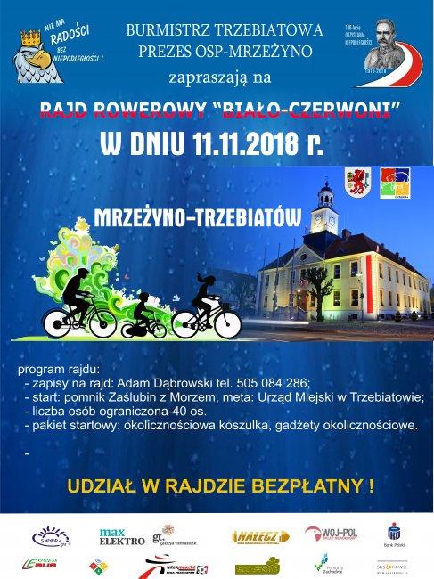 """11 listopada w Trzebiatowie odbędzie się rajd rowerowy """"Biało-czerwoni"""""""