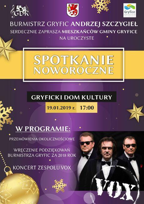 19 stycznia w Gryfickim Domu Kultury odbędzie się Spotkanie Noworoczne. Zaproszeni są wszyscy mieszkańcy gminy Gryfice.