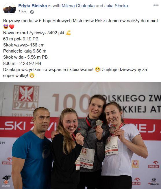 Medalistki Mistrzostw Polski w 5-boju. Edyta Bielska