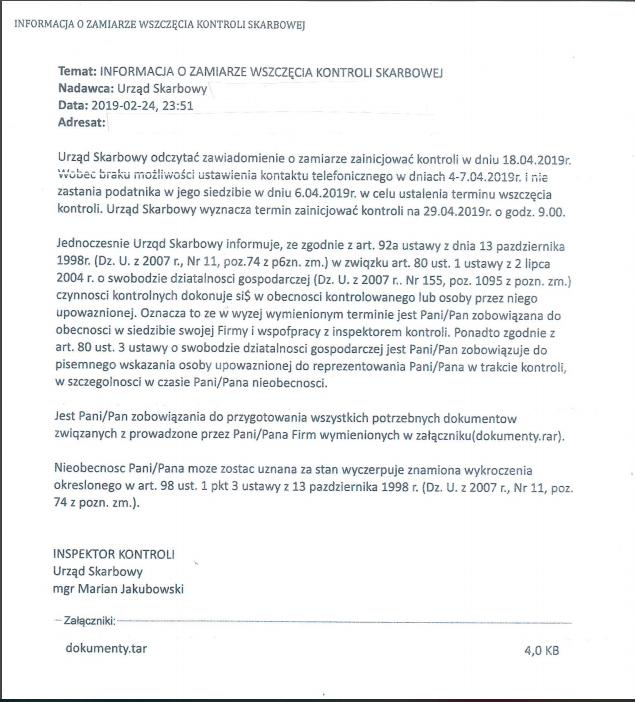 Podatnicy województwa zachodniopomorskiego otrzymują fałszywe e-maile, informujące o wszczęciu kontroli skarbowej. Nie odpowiadajcie na takie wiadomości i nie klikajcie w dołączone do nich załączniki!
