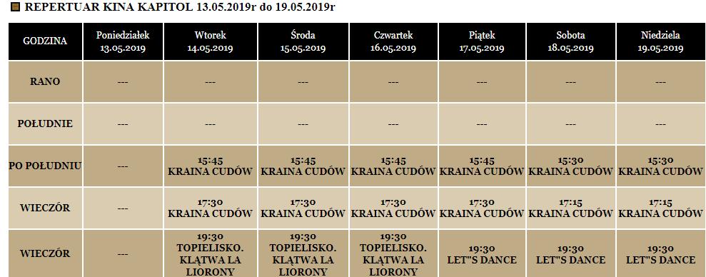 Repertuar kina Kapitol maj 2019.