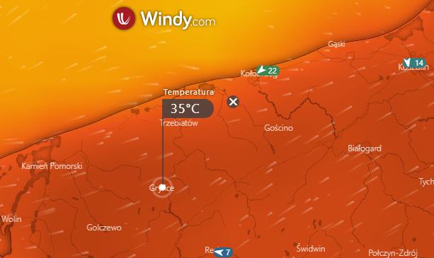 Nadchodzące dni w powiecie gryfickim będą wyjątkowo gorące. Źródło: windy.com